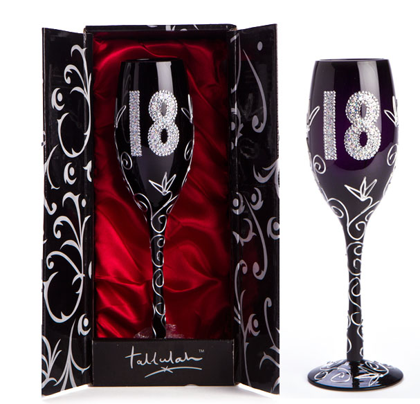 '18' BLACK & SILVER CHAMPAGNE GLASS