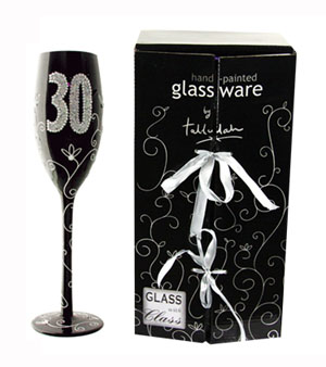 '30' BLACK CHAMPAGNE GLASS WITH GLITTER