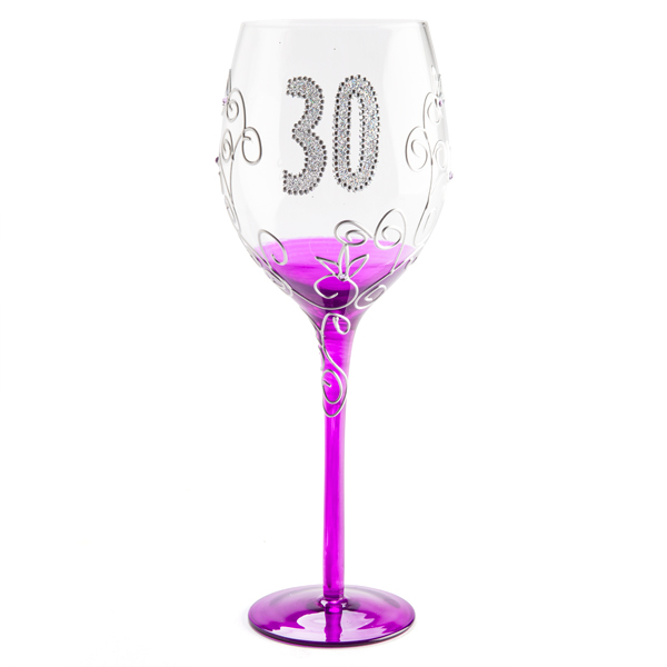 \'30\' CLEAR WINE GLASS WITH SILVER GLITTER