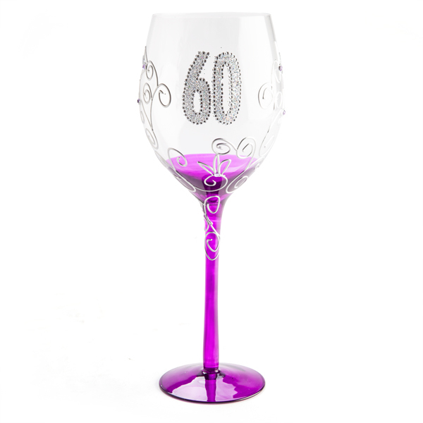 '60' CLEAR WINE GLASS WITH PURPLE/PINK STEM