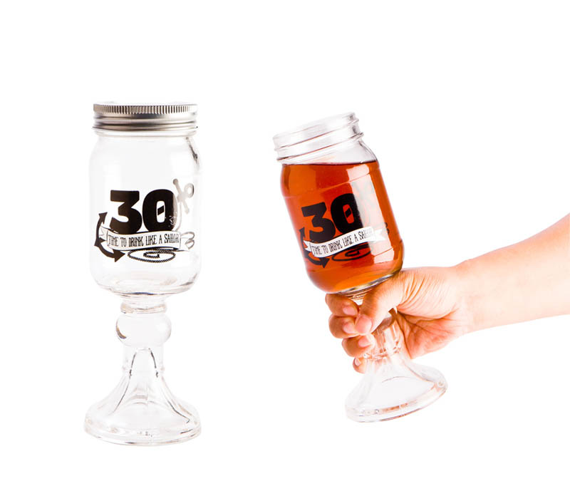 30TH MASON JAR GOBLET