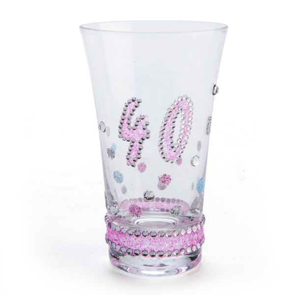 40TH BIRTHDAY PINK GLITTERED CLEAR SHOT GLASS
