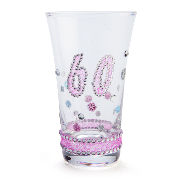 60TH BIRTHDAY PINK GLITTERED CLEAR SHOT GLASS