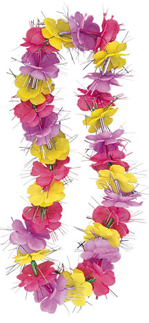 HAWAIIAN FLOWER LEIS - LUAU DAZZLE FANCY TRI-COLOUR