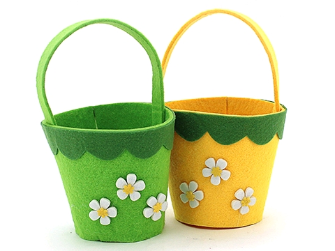 EASTER DECORATIVE FELT ROUND BASKET WITH FLOWERS