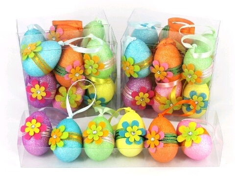 EASTER EGGS WITH PRETTY SEQUIN FLOWER