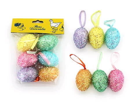 GLITTERED EGG HANGING SMALL DECORATION - PACK 6