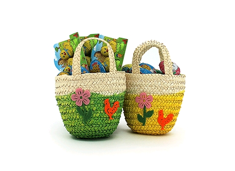EASTER DECORATIVE WOVEN STRAW & FELT BAGS