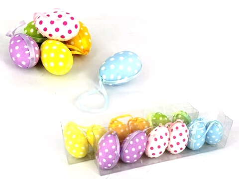 EGGS POLKA DOT MEDIUM HANGING DECORATION PACK OF 12