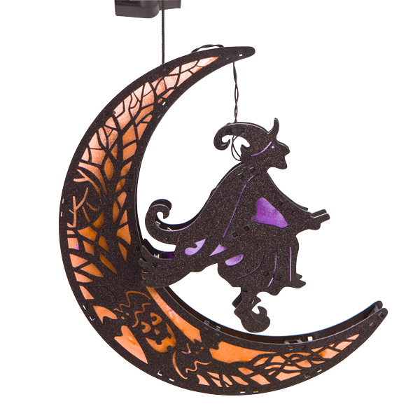 LED MOON WITH FLYING WITCH DECORATION