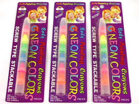 FACE & BODY CRAYON PEN BLACKLIGHT REACTIVE - 6 NEON COLOURS