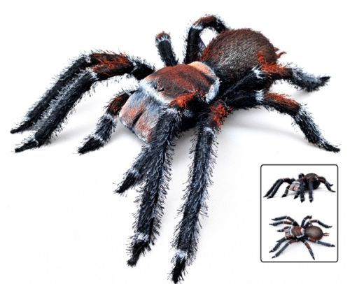 HALLOWEEN SPIDER WITH ORANGE FUR - 48CM