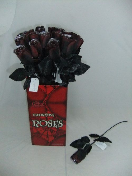 ROSE - REDDISH BLACK ROSE WITH SILVER GLITTER