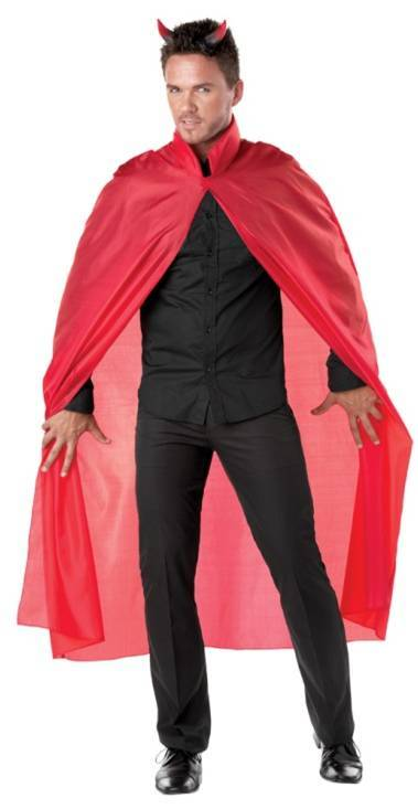 RED DEVIL SATIN CAPE & HORNS SET