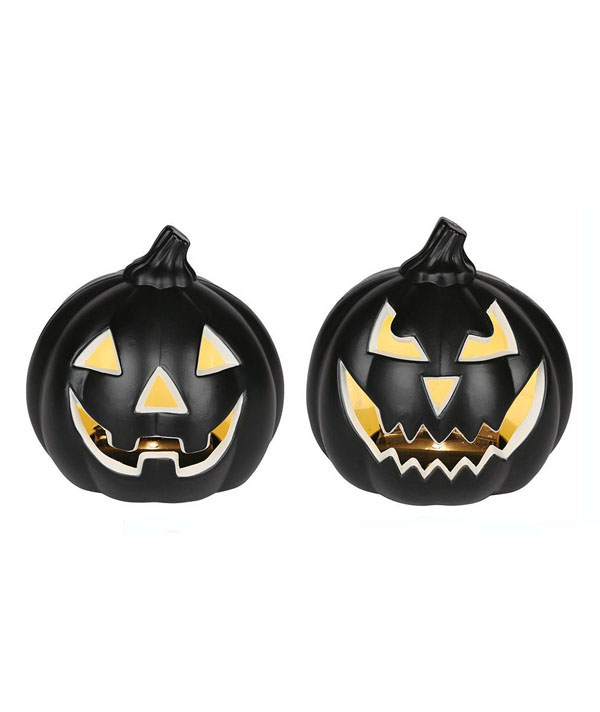 HALLOWEEN JACK O'LANTERN BLACK PUMPKIN SET OF 2