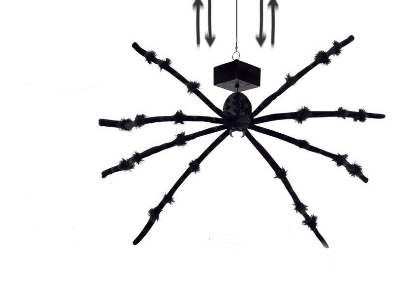 dropping black spider with spooky sound effects