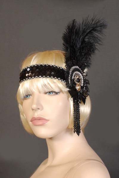 FLAPPER / 1920'S FEATHER HEADDRESS - BLACK & SILVER ROSETTE