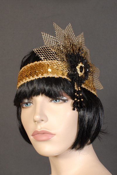 FLAPPER / 1920'S HEADDRESS - GOLD & BLACK FLORETTE