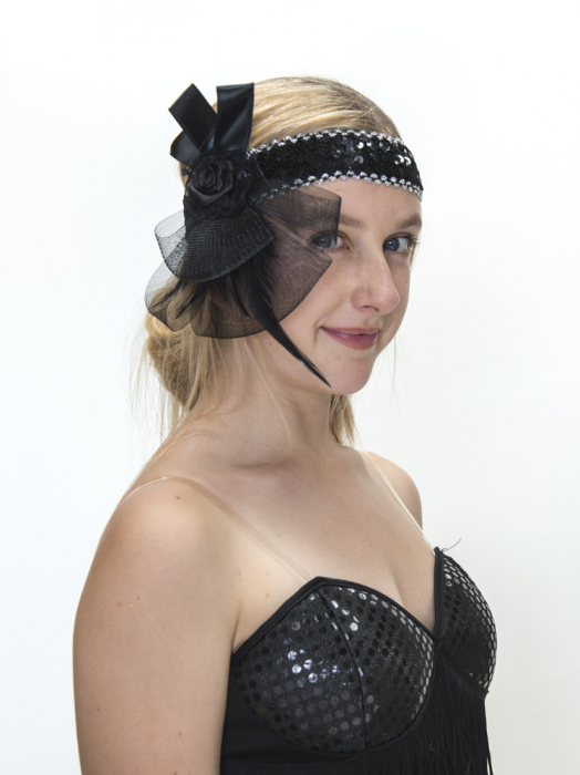 FLAPPER / 1920'S HEADDRESS - BLACK RIBBON FLORETTE