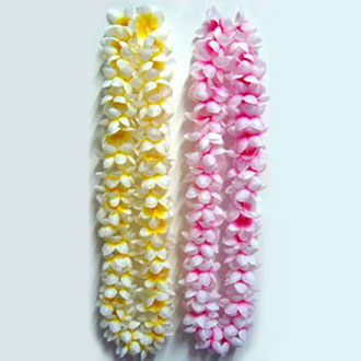 HAWAIIAN FLOWER LEIS - FRANGIPANI PINK & YELLOW PK OF 12 SPECIAL
