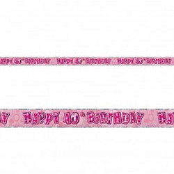 GLITZ PINK 40TH BIRTHDAY BANNER 3.6M