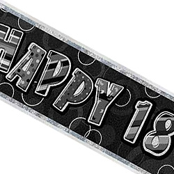 GLITZ SILVER & BLACK 18TH BIRTHDAY BANNER 3.6m