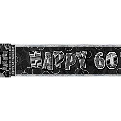 GLITZ SILVER & BLACK 60Th BIRTHDAY BANNER 3.6m