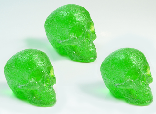 GLITTER SKULL CANDY GREEN - PACK OF 3