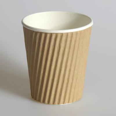 NATURAL HEAVY DUTY RIPPLE COFFEE OR HOT DRINK CUPS - PACK 25
