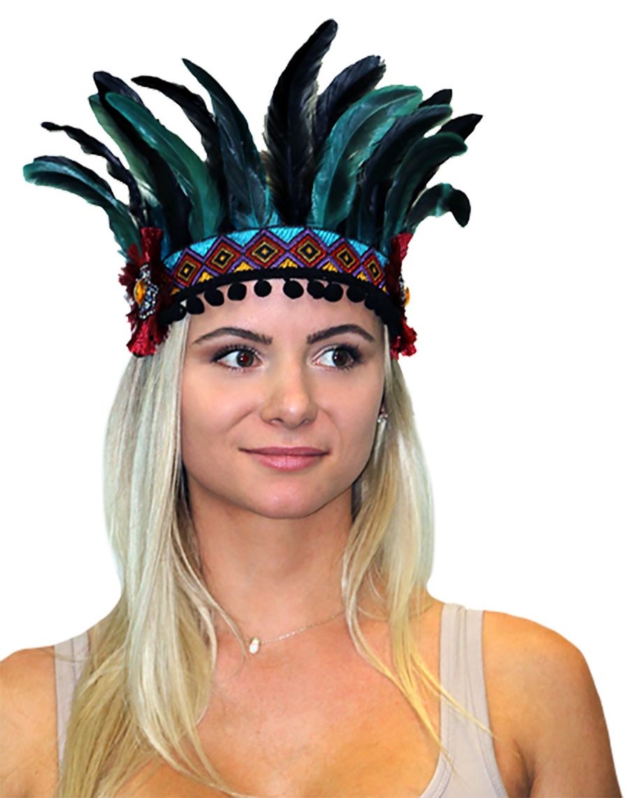 FEATHERED FESTIVAL HEADPIECE - AZTEC DESIGN