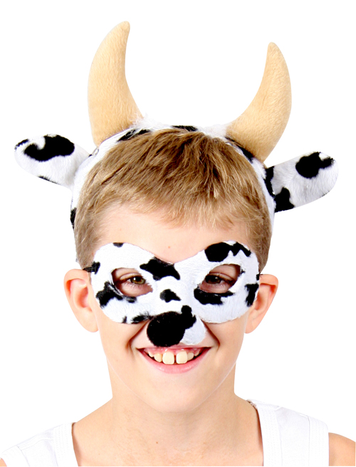 HEADBAND & MASK SET - BLACK & WHITE COW