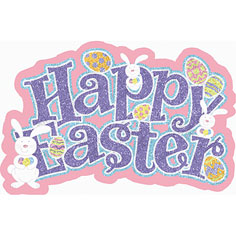 LARGE GLITTERED EASTER SIGN - colours may vary