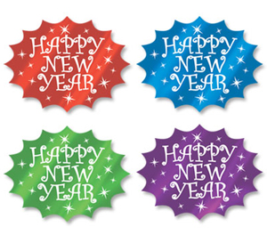 NEW YEAR'S EVE MULTI-COLOUR SIGNS PACK OF 4