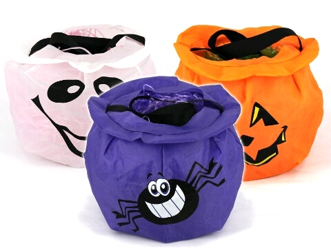 HALLOWEEN POT SHAPED TRICK OR TREAT BAGS - SET OF 3