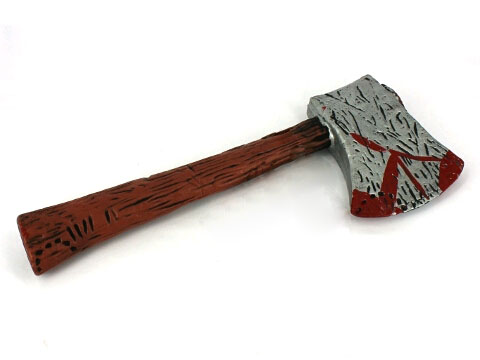 AXE WITH WOODGRAIN LOOK HANDLE AND BLOOD STAINS