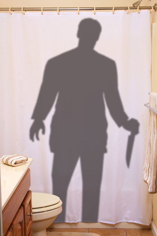 BLOODY SHOWER CURTAIN - CREEPY SILHOUETTE STALKER