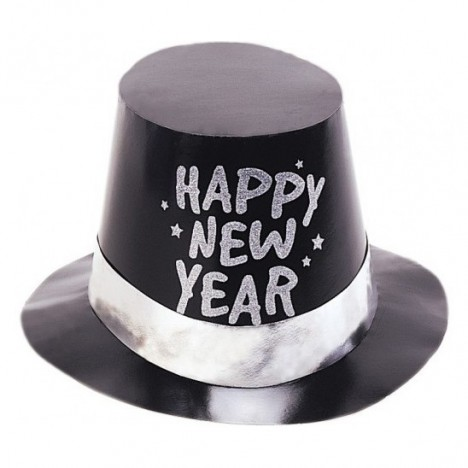 HAT - NYE BLACK FOIL TOP - SILVER BAND - BULK PACK OF 25