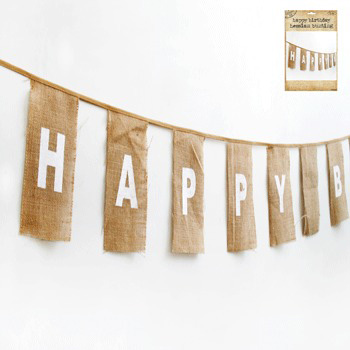 NATURAL HESSIAN 'HAPPY BIRTHDAY' BUNTING