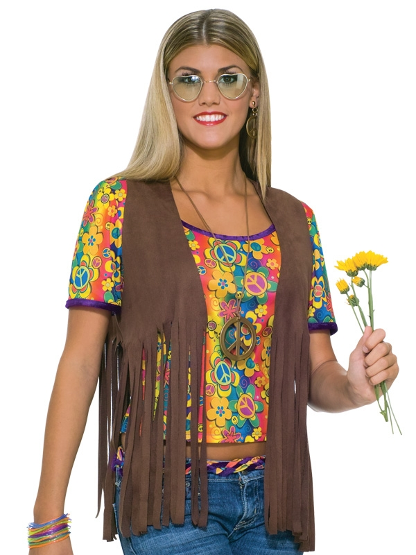 HIPPIE FAUX SUEDE BROWN FRINGE VEST - FEMALE