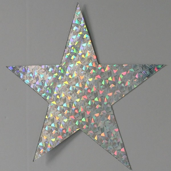 FOIL CARDBOARD CUT OUT STARS HOLOGRAPHIC 8CM - PACK OF 12