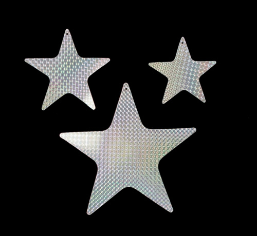 FOIL CARDBOARD CUT OUT STARS HOLOGRAPHIC SILVER - PACK OF 9
