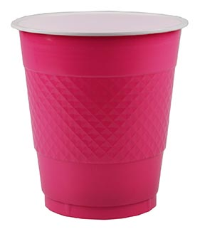 DISPOSABLE CUPS TWO TONE HOT PINK - PACK OF 20