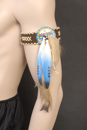 INDIAN BEADED LEATHER ARMBAND - BLUE