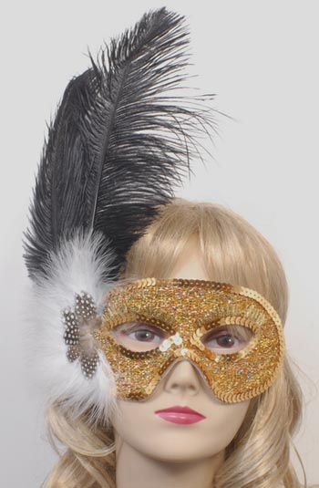 MASK - OSTRICH FEATHER BLACK & GOLD