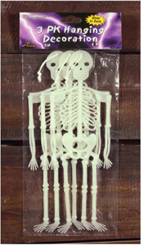 GLOW IN THE DARK SKELETONS - Pk of 3 - sorry out of stock