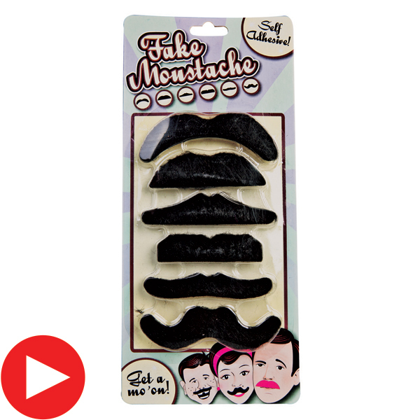 MOUSTACHES - BLACK FAKE SET OF 6