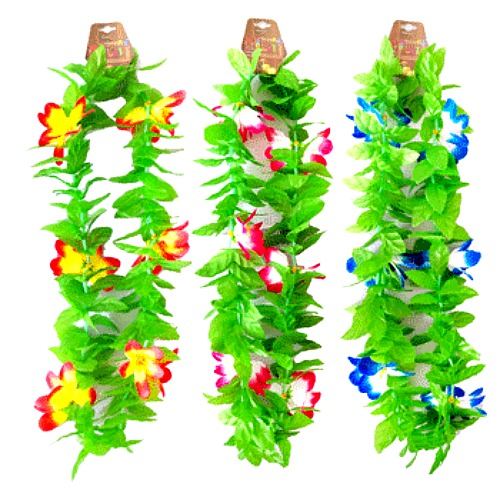 HAWAIIAN FLOWER LEIS - LIME MIX BULK PACK OF 12