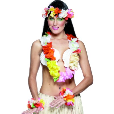 HAWAIIAN FLOWER LEI, HEAD PIECE AND BRACELET SET MULTI COLOURED