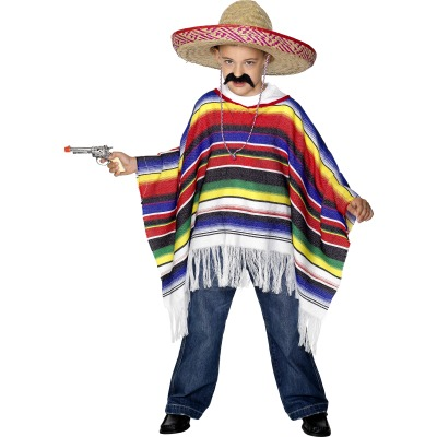 MEXICAN PONCO FANCY DRESS PONCHO FOR KIDS - ONE SIZE FITS ALL