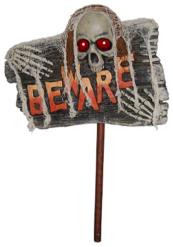 halloween 'beware' light up stake/lawn sign